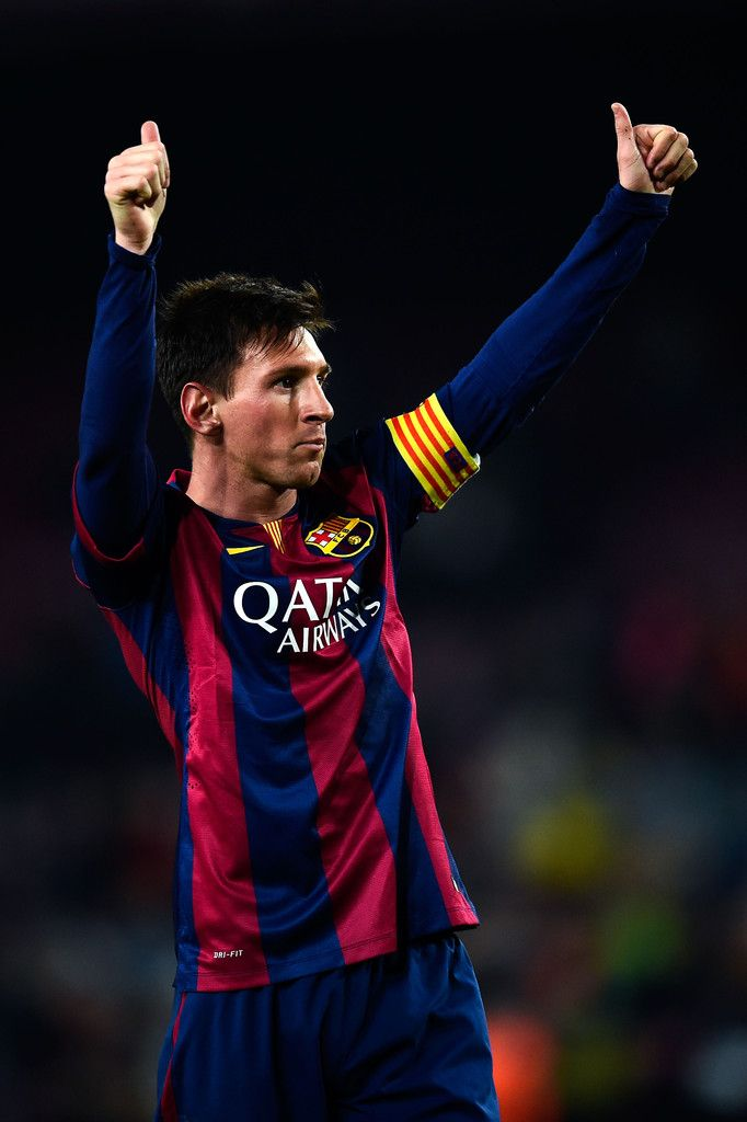 Lionel Messi of FC Barcelona celebrates after scoring his team's third goal during the Copa del Rey Round of 16 First Leg match between FC Barcelona and Elche CF at Camp Nou on January 8, 2015 in Barcelona, Catalonia.