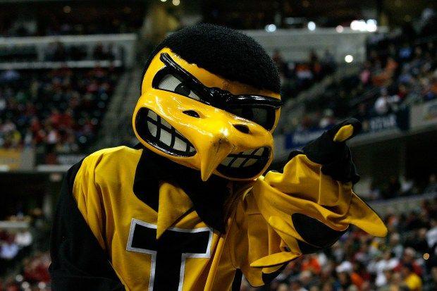 Iowa Hawkeyes basketball mascot, Herky the Hawk.