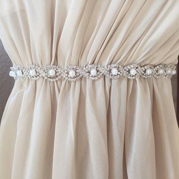 Highest quality crystal rhinestone and pearl bridal belt or Bridesmaid Belt. This pearl bridal trim is one of our most popular shop designs.