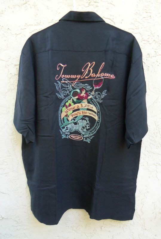 Nwt tommy bahama mens sz l embroidered wine a little for Tommy bahama embroidered silk camp shirt