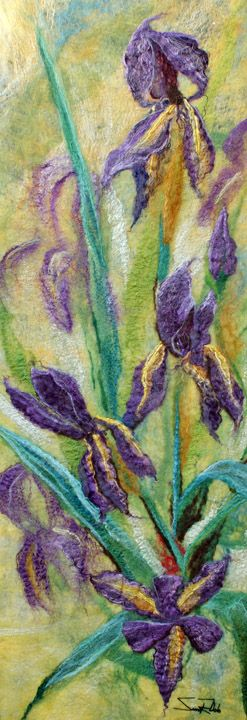 "Textile art. Silk, linen and mohair. ""Irises"""