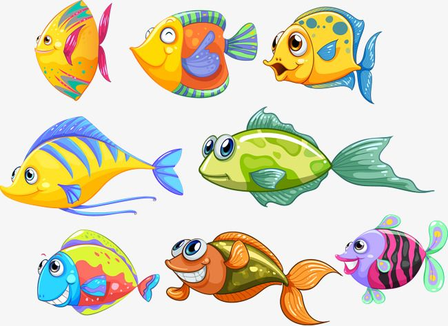 Vector Material Cute Cartoon Fish Seabed Png And Vector Cartoon Fish Cute Cartoon Fish Fish Vector