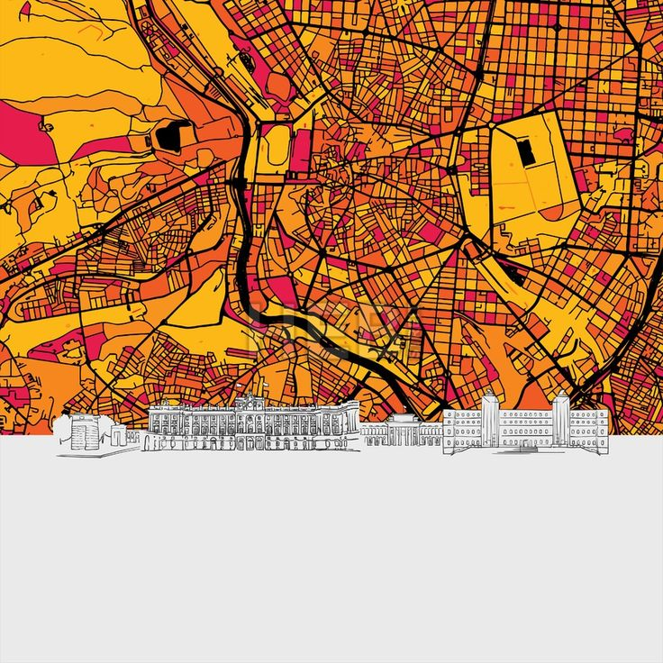 World Map Moscow%0A Madrid  Spain  Skyline Map