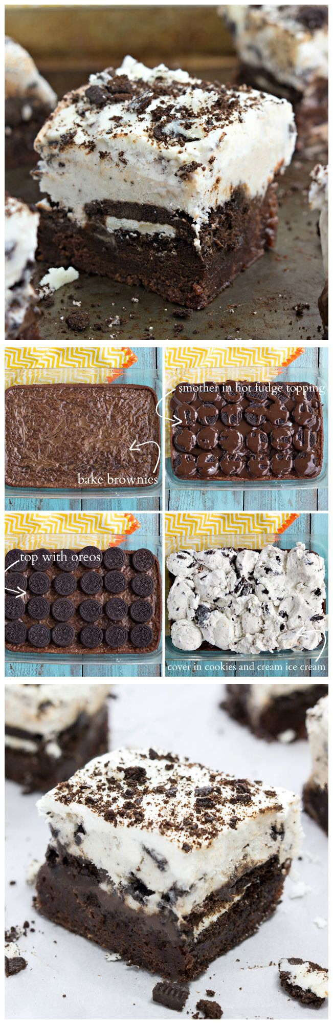 Brownie-bottomed, oreo-topped, hot-fudge smothered, ice cream-covered dessert bars. #dessert #brownie #oreo.....uh oh