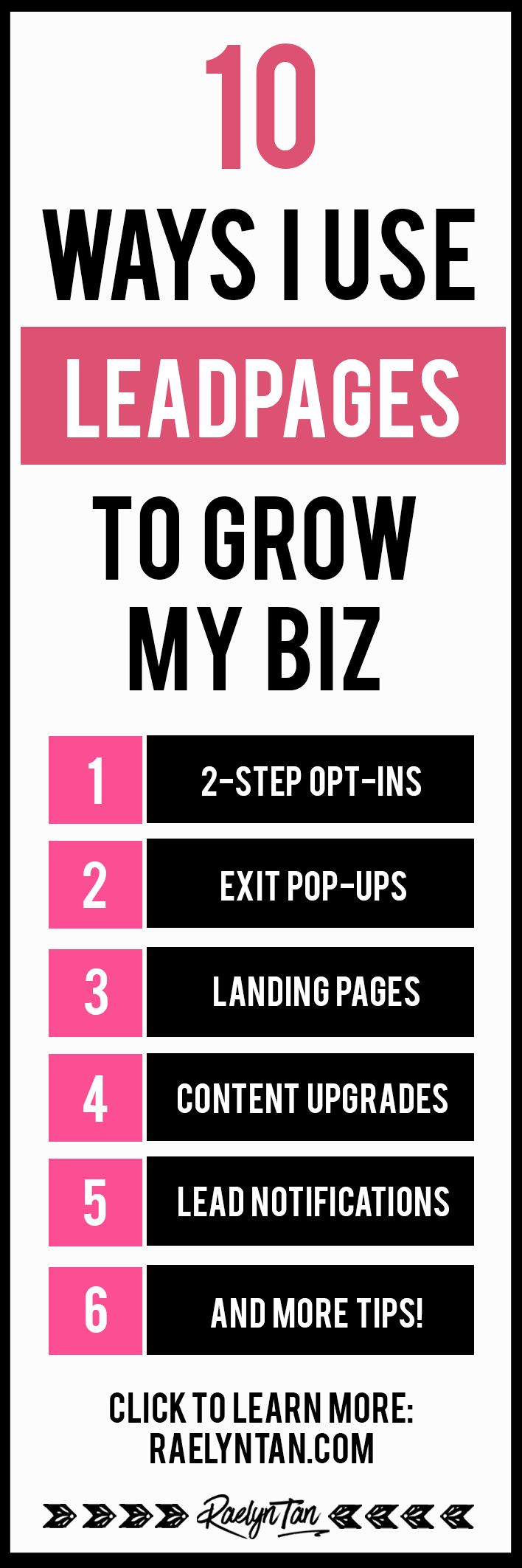 Leadpages tutorial and review: 10 ways I use Leadpages to grow my blog and business. Here are tips on how I use Leadpages to create landing pages without the need design it on my own, webinar pages, use leadboxes, lead notifications, thank you pages and much more!