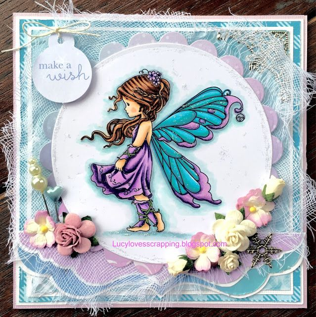 Lucy loves scrapping: Wee Stamps digi fairy girl, copic colouring handmade cute shabby chic card