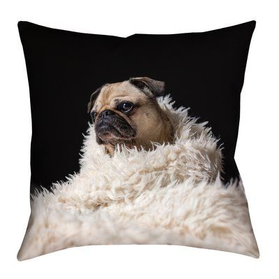 """Latitude Run Karlos Pug in Blanket Square Pillow Cover with Zipper Size: 14"""" x 14"""""""