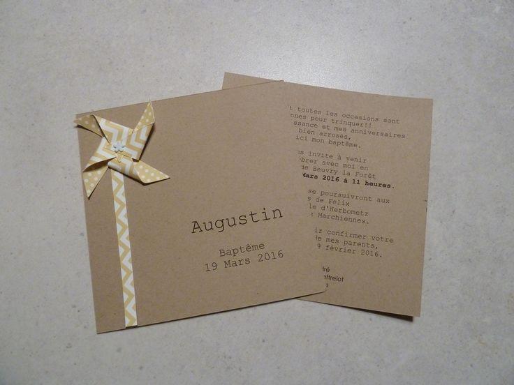 Faire part de baptême - naissance - remerciement moulin à vent pour fille - garçon kraft - jaune chevron : Faire-part par papierelief