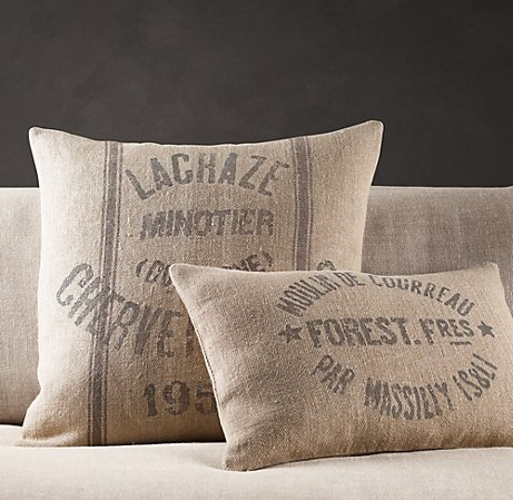 Restoration Hardware Vintage French Grain-Sack Linen Pillow Covers $39 Home: Decor Pinterest ...