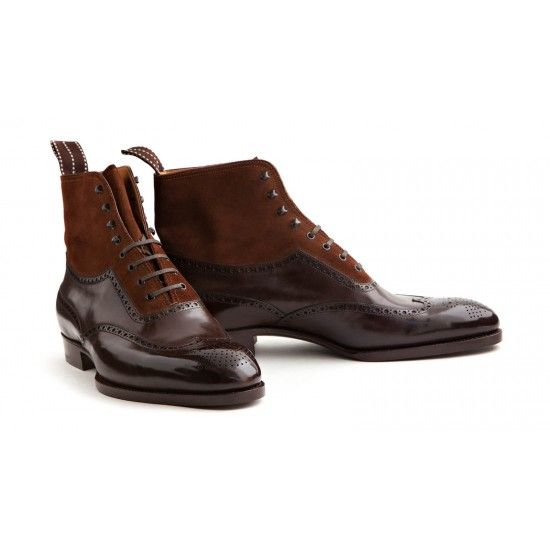 Saint Crispin's 401 Boot - Headquartered in Vienna, Saint Crispin's does not follow the Viennese tradition exclusively but produces a style that is appreciated all over the world. All shoes are handmade. The 401 is an elegant wingtip boot made in brown suede and calfskin. It's a classic style that deserves a spot in every wardrobe. Features: Classic Last, Brown Calfskin and Brown Suede, Wood Pegged Soles