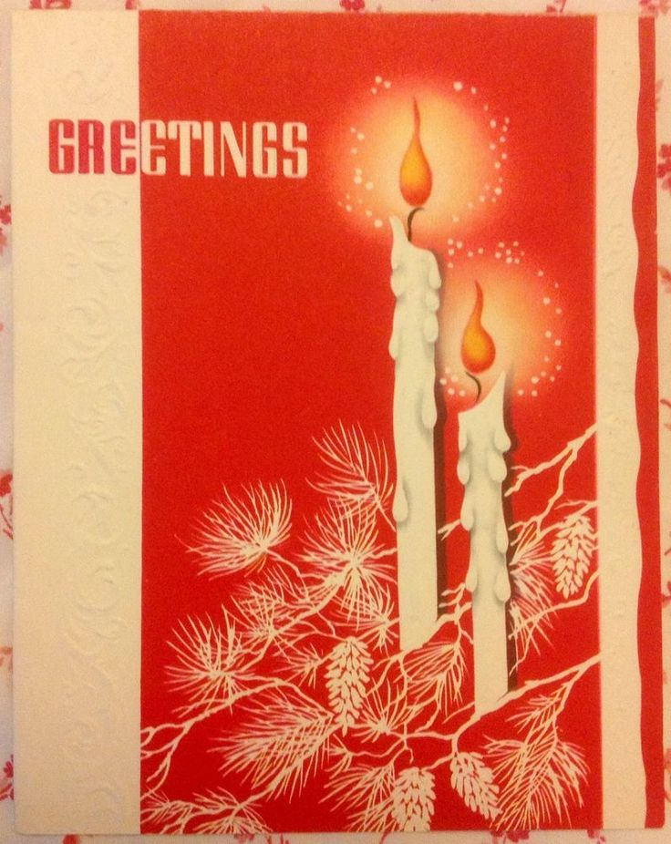 Vintage 1940s Christmas ~ Seasonu0027s Greetings Selleru0027s Sample Card W/  Candles ~