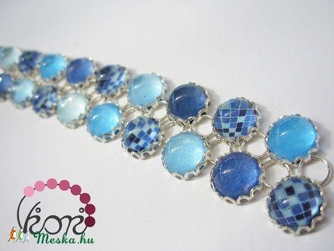 Kék mozaik üveg karkötő (viori) - Meska.hu