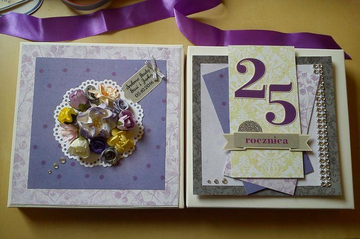 Kartka z pudełkiem na 25 rocznicę ślubu. Srebrne gody.