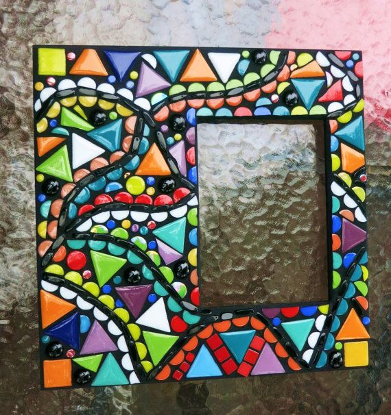 "CUSTOM MOSAIC FRAME - Featuring a Contemporary, Abstract Design, Multicolored Glass & Ceramic Tiles - 12""x12"" Frame Holds a 5""x7"" Photo"