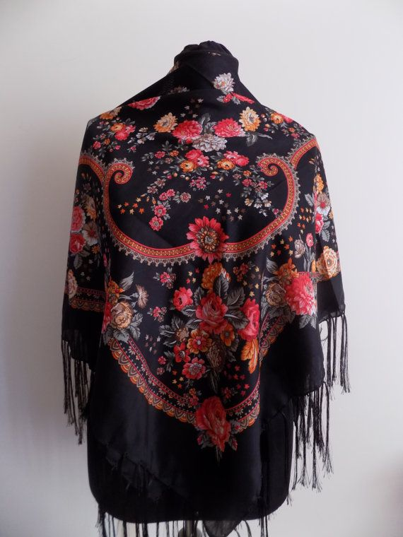 Black Russian Scarffloral scarffringe scarfPashmina by hedopart