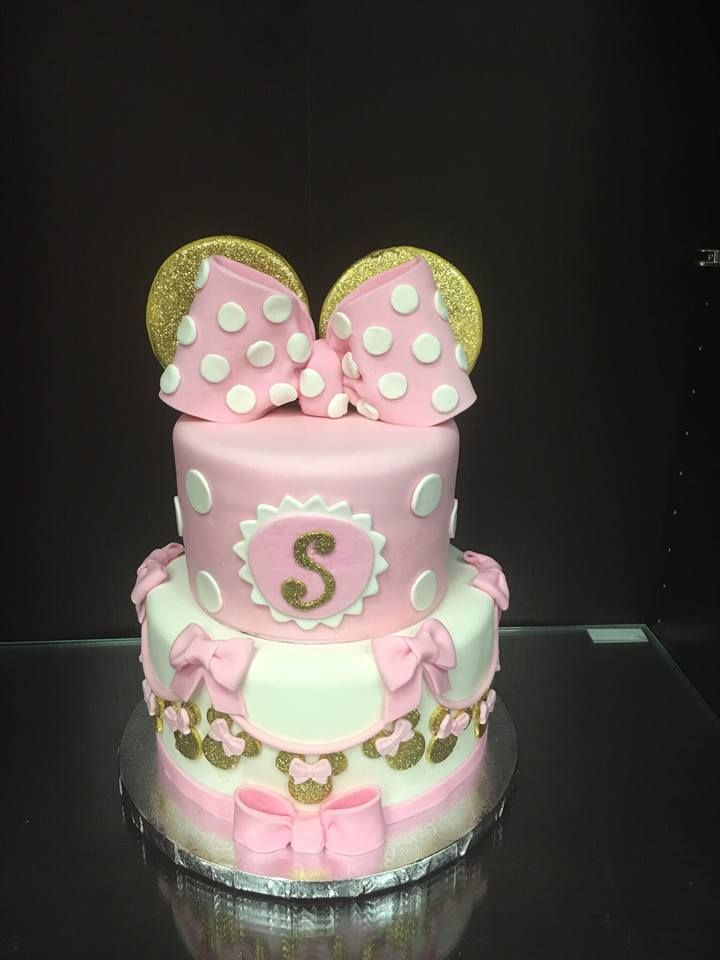 Gold and Pink Minnie Mouse Cake | Disney Mickey & Minnie ...
