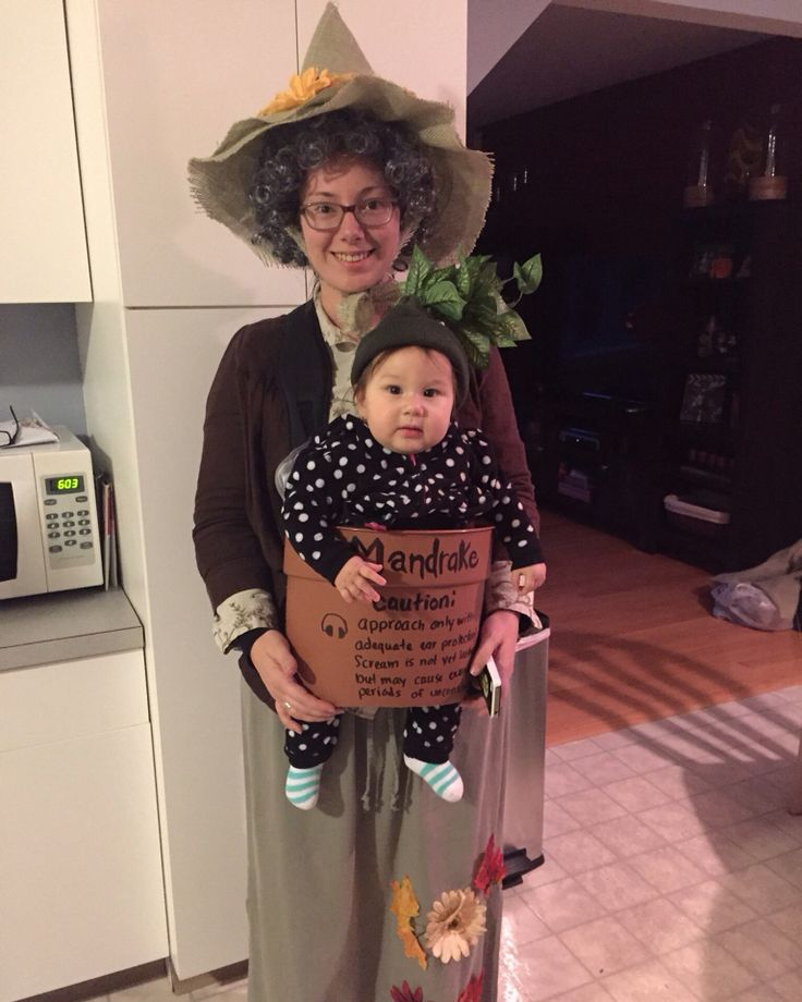 Professor Sprout and baby Mandrake. Harry Potter inspired Halloween costume. Because home made DIY is better than the crappy store costumes.