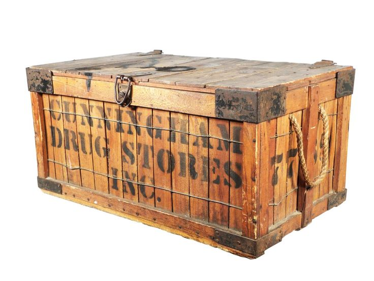 Cunningham Drug Stores Wood Shipping Crate