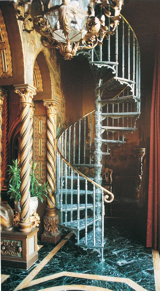 """5' 0"""" Diameter Victorian One Cast Aluminum Kit with optional polished 1-1/4"""" brass handrail with polished brass scroll handrail ends, double in-between spindles, scroll design tread ends, and custom Verdigris baked finish."""