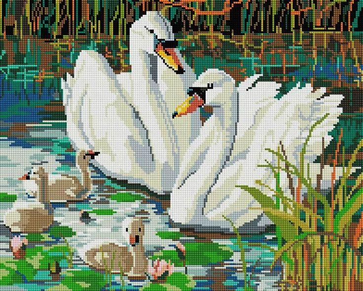 Набор Белоснежка для изготовления картин со стразами на подрамнике арт.БЛ.309-ST-S Семья лебедей 40х50см