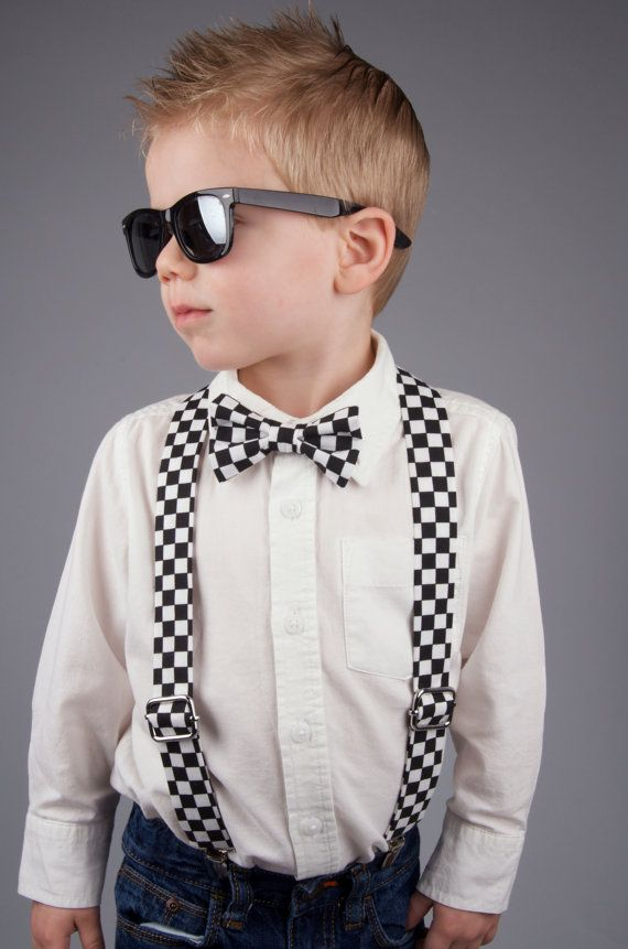 Checkered Bow Tie & Suspenders Set  for little boy or toddler  checkered flag for Indy 500
