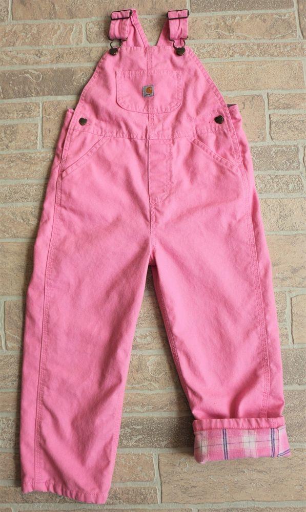 35d0baa67a3a Carhartt Girls 4T Pink Bib Overalls Flannel Lined 100% Cotton Heart ...