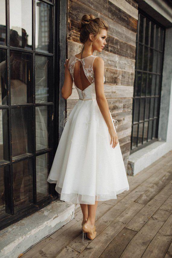 Brautkleid 'STEFANI' / / kurze Brautkleid, Tee Länge Brautkleid, Spitze Brautkleid, Brautkleid drei Viertel – Fashion
