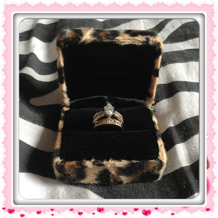 Cheetah wedding ring box! This must happen ! I may have to ask my future husband to do this
