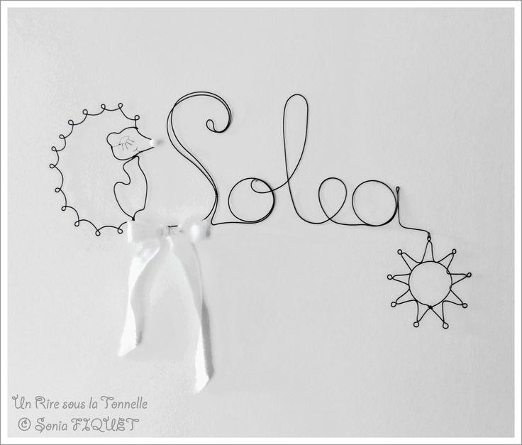 Prénom en fil de fer hérisson & soleil - sur cde, à personnaliser : Décoration pour enfants par un-rire-sous-la-tonnelle
