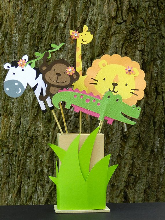 We found these baby shower centerpieces and thought they would be great for the zoo animal baby shower theme.
