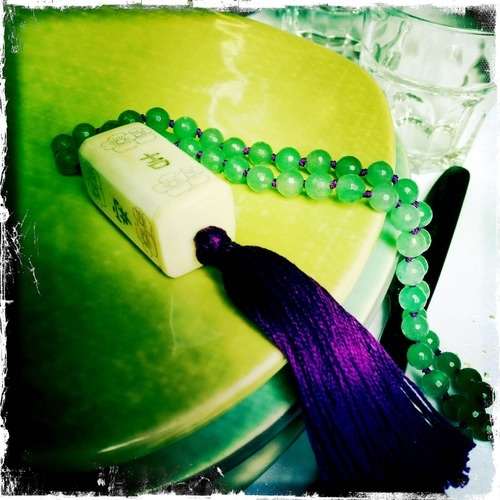 """Purple tassel necklace""  Oriental bone pendant, aventurine, purple thread, purple tassel"