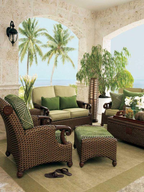 Green Wicker Living Room Furniture