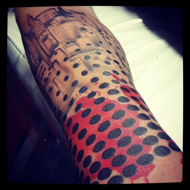 Session 4 tattoo dots sleeve cityscape tattoo design for 2 dot tattoo meaning