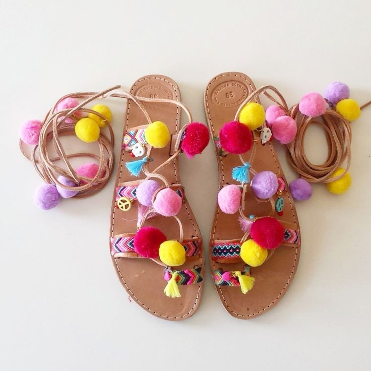 Bohemian Pompom Tie Up Leather Sandals, Handmade Sandals, Boho Sandals, Women Shoes, Greek Leather Sandals, Worldwide Shipping by GlowHandmade on Etsy