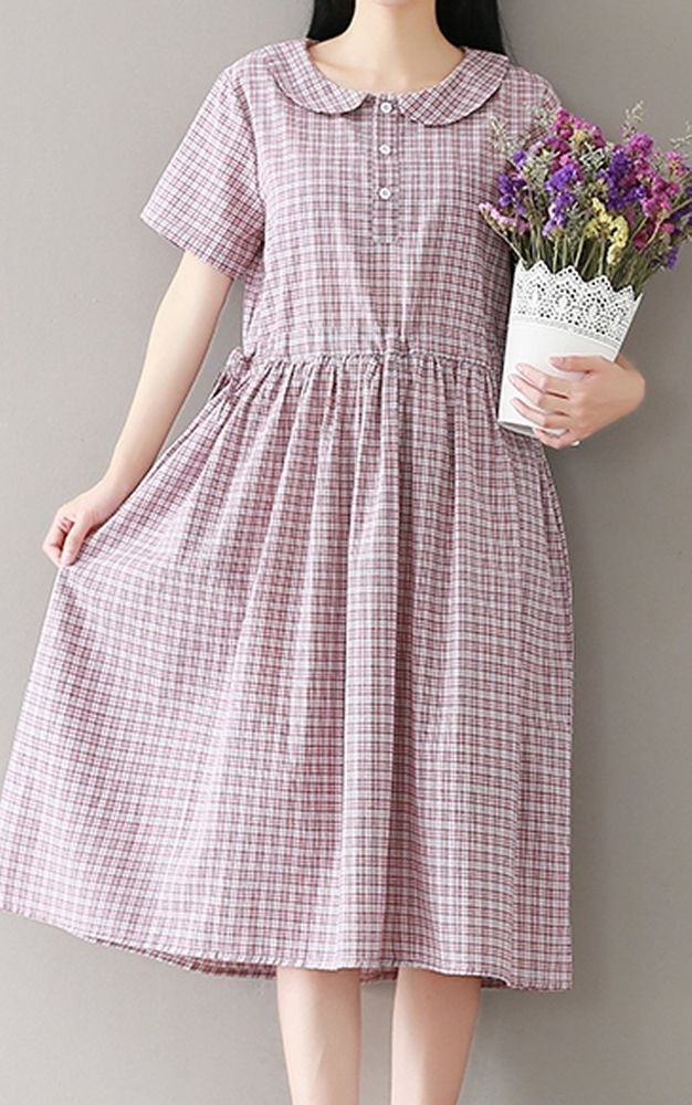 Women loose fit over plus size retro plaid checkers pastel dress pocket tunic #Unbranded #dress #Casual
