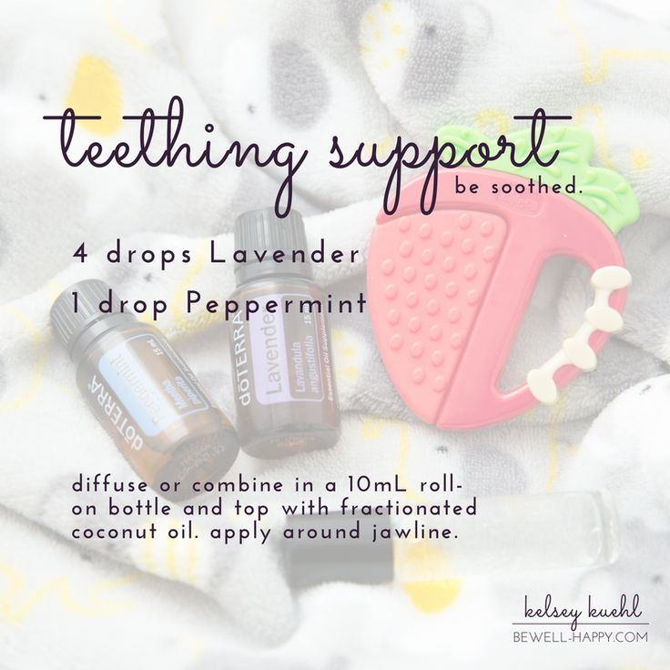 Try this natural teething remedy for your baby.  This DIY essential oil roller bottle recipe combines dōTERRA Lavender and Peppermint. dōTERRA's Certified Pure Therapeutic Grade essential oils are guaranteed 100% pure, natural and safe.  Learn more at www.bewell-happy.com.