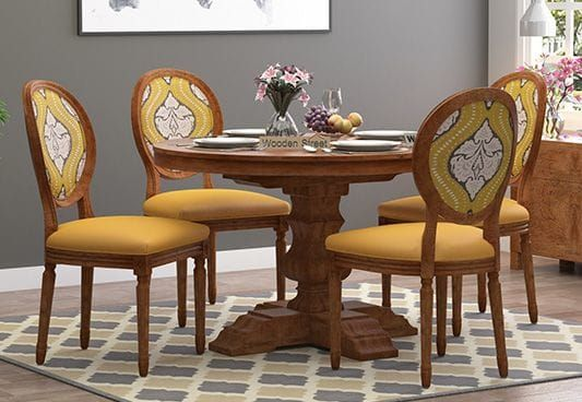 Clark 4 Seater Printed Round Dining Set Mustard Coral Natural Finish Dining Table Luxury Round Dining Table 4 Seater Dining Table Round table set for 4