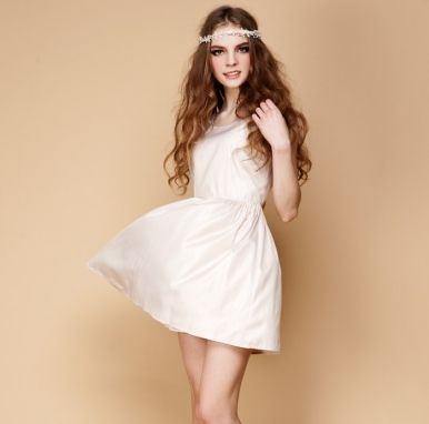 Newly Simple Design Sleeveless Chiffon Short Elegant Dress Nude