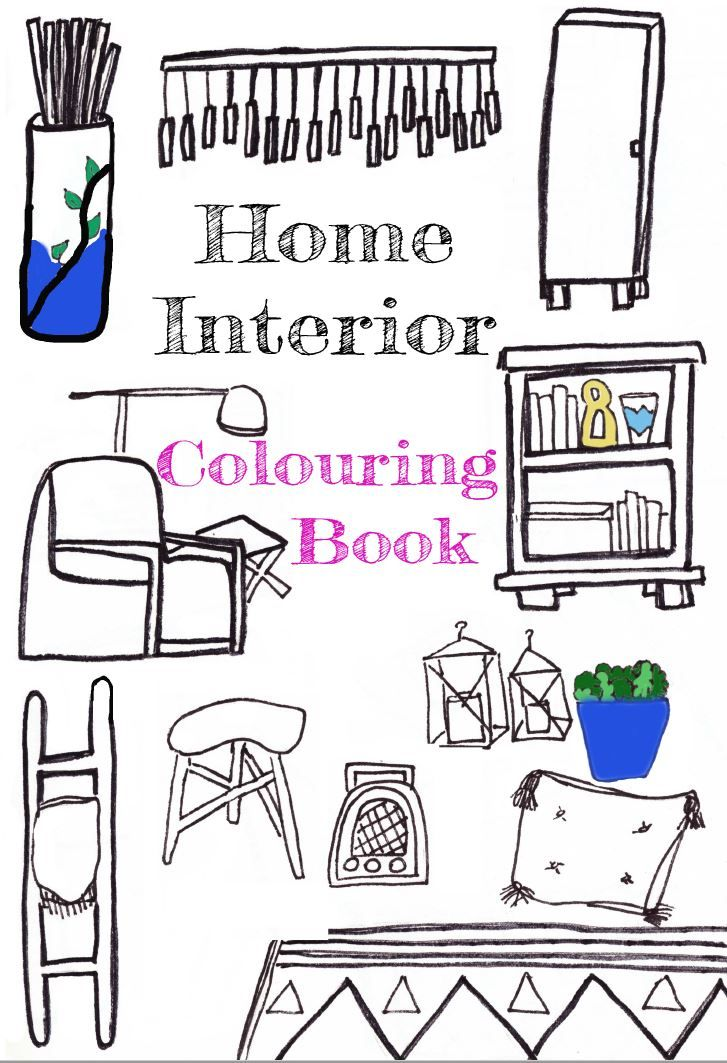 Printable Home Interior Colouring Book including 5 pages adult colouring book for those who love home decor, interior design or house renovation.