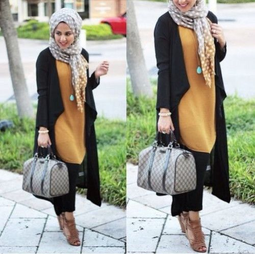 hijab style long black coat, Hijab looks by Sincerely Maryam…