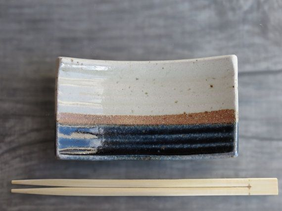 Sushi plate small ceramic Sushi plate pottery spoon rest kitchen accessory cream blue rustic stoneware soap dish