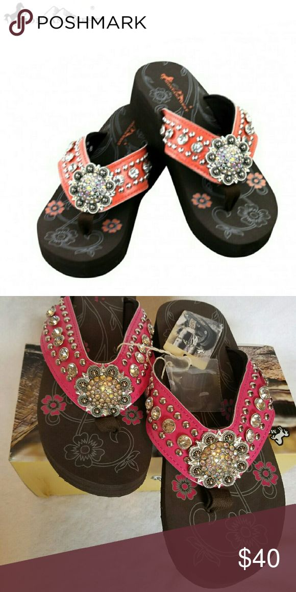 Pink Bling Flip-flops NWB Montana West Flip-flops.   Please note one pic is from the Montana West website and has an orange hue. However the pic with the box is a more accurate deep pink color. Base of sandal is dark brown. Montana West Shoes Sandals