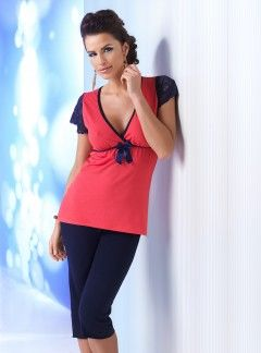 Piżama Betty 3/4 Navy Blue-Coral