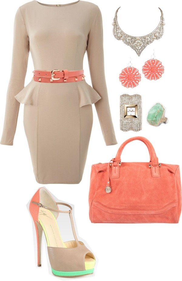 """nude and coral"" by deschae on Polyvore"