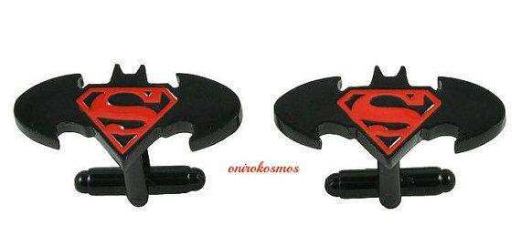 DC Comics: Novelty Superman vs Batman Hand Enameled Cufflinks - SuperHero Batman Superman Men's Cufflinks, Dawn of Justice Cufflinks.