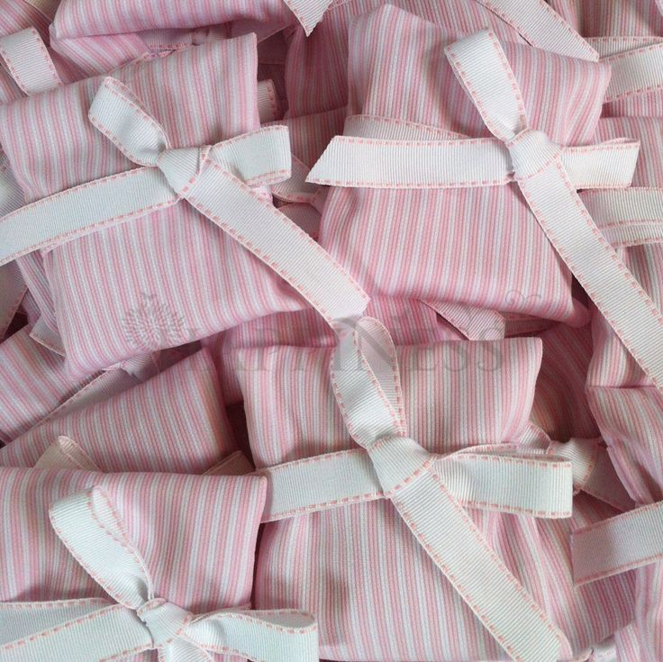 "A beautiful pink-n-white striped ""envelope"" favor for a little girls baptism. These can be tailored to your desires from a large collection of fabrics.   #bomboniera #christening #baptism  For more info: www.myhappiness.gr"