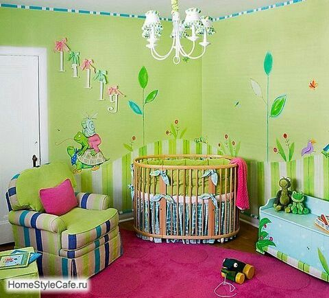 Vintage Pink and green whimsical room