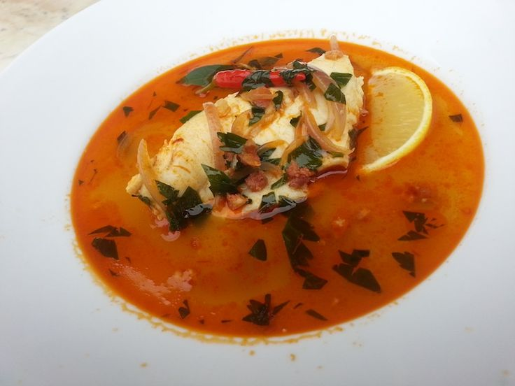 A Spanish Broth with Garlic, Fish & Chorizo