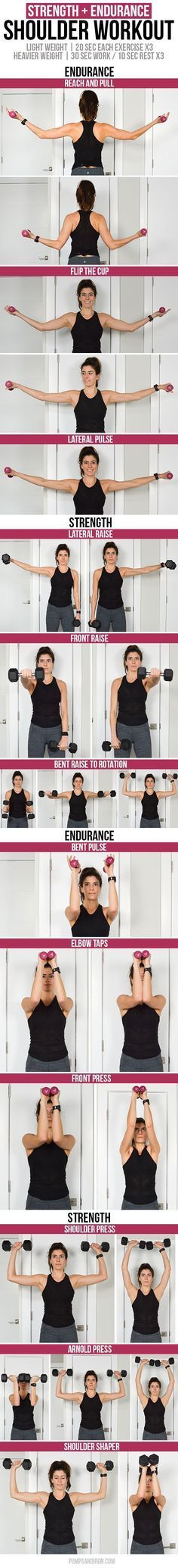 Shoulder Workout - low weight/high rep endurance rounds mixed with heavier strength circuits