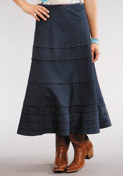 Women s Dresses and Skirts Blue Long Denim Skirt With Back ... |Western Long Denim Skirts Modest